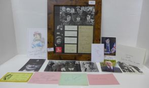 A framed Dad's Army montage of signed photographs with autographs and cast photographs plus a