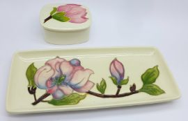 A Moorcroft lidded trinket pot and a small rectangular tray