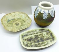 Two TJ Curran studio pottery pin dishes and a vase
