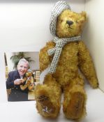 A Merrythought Teddy bear for Manx Mencap, Sir Norman Wisdom O.B.E. with photograph