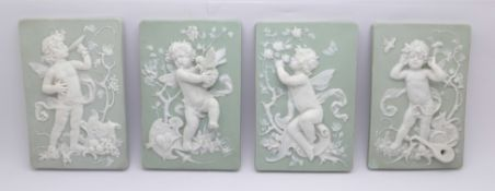 Four Parian plaques, three with impressed numbers 7811, 28, F, (one unmarked with chip on the