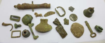 A collection of metal detecting finds including bronze