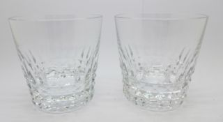 A pair of oversize Baccarat whisky glasses