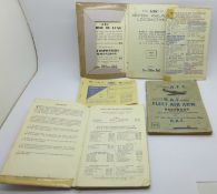 An ATC, RAF, FLEET AIR ARM handbook, two railways booklets and a Motor Fuel Ration Book