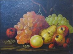 English School, still life of fruit, oil on canvas, 29 x 40cms, framed