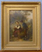 Italian School (19th Century), romantic scene of lovers, oil on canvas, indistinctly signed and