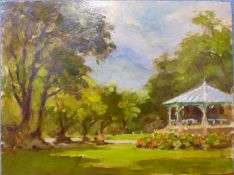 John Hall, The Band Stand, oil on board, 30 x 40cms, unframed