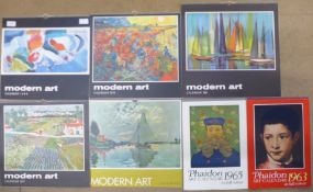 Five Modern Art calendars, 1967, 1969, 1970, 1971 and 1972, containing prints by John Bratby, John