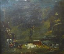 Italian School (mid 18th Century), landscape with figures and cattle by a river (fragment of a