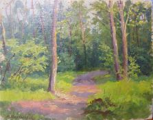 Russian School (mid 20th Century), pair of forest landscapes, oil on board, 24 x 30cms, unframed