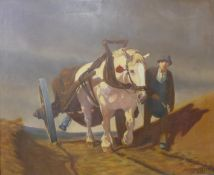 * Kurzmann, landscape with man and shire horse pulling a cart, oil on canvas, dated 1940, 80 x