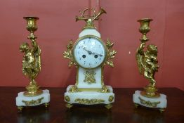 A 19th Century French marble and ormolu clock garniture, the movement signed Vincenti & Cie.,