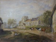 English School (19th Century), A Church Near Cambridge, watercolour, 21 x 29cms, framed