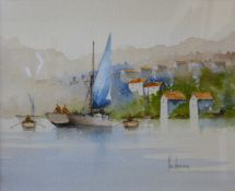 Ken Hammond, coastal scene, watercolour, 22 x 27cms, framed