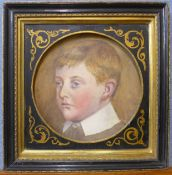 English School, (19th Century), portrait of a boy, watercolour, 22cms d, framed