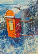 C.C. Turner, snowy winter scene with post box, gouache, 36 x 25cms, framed