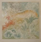 A signed Anna Pugh limited edition print, Bright Tiger, no. 68/200, 40 x 39cms, framed