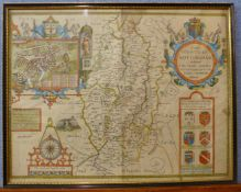 A 17th Century John Speede hand coloured engraved map, The Countie of Nottingham, 40 x 51cms, framed
