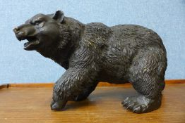 A bronze figure of a grizzly bear, 19cms h