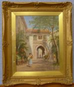 Trevor Haddon RBA (1864-1941), a Mediterranean town, oil on canvas, 45 x 34cms, framed