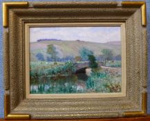 French Post Impressionist School, river landscape, oil on board, 17 x 23cms, framed
