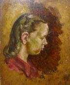 British School (early 20th Century), portrait of a girl, oil on board, 36 x 31cms, unframed