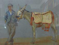 British School (20th Century), study of a boy and donkey, pastel, 27 x 35cms, framed