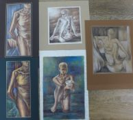 Joseph Smedley, five studies of male nudes, watercolour and pencil, various sizes, all unframed