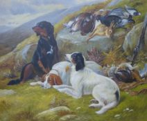 A landscape with English setters and game, oil on canvas, 50 x 60cms, framed