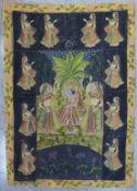 Indian School, ceremonial scene, gouache on silk, 115 x 80cms, unframed