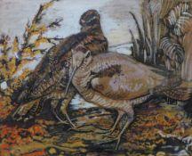 Mona Oliver, Woodcocks, gouache, dated '67, 30 x 37cms, framed