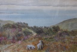 Manner of Myles Birket Foster RWS (1825-1899), landscape with sheep grazing by a coastal path,