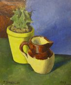 Joseph Smedley, still life of a jug and cactus in a vase oil on board, dated 1963, photograph of