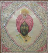 A pair of Indian printed silk handkerchiefs, The Maharajah of Baroda and The Maharajah of