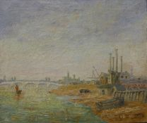 Post Impressionist School, industrial dockland landscape, oil on canvas, indistinctly signed, 50 x