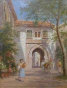 Trevor Haddon RBA (1864-1941), a Mediterranean town, oil on canvas, 45 x 34cms, framed