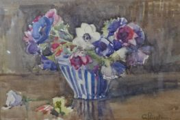 G. Priestman (early 20th Century), still life of flowers in a vase, watercolour, 24 x 36cms, framed