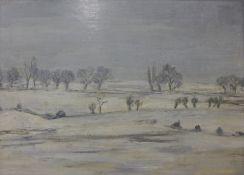 Audrey Ashton, snowy winter landscape, oil on board, 30 x 41cms, unframed