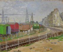 French School (mid 20th Century), industrial railway landscape, oil on canvas, 38 x 46cms, unframed