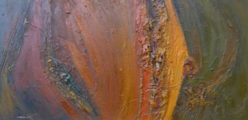 M.D. Barnsfather, Abstract, mixed media on board, dated '66, 60 x 121cms, framed