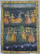 Indian School, ceremonial scene, gouache on silk, 117 x 85cms, unframed
