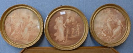 After Francesco Bartolozzi (Italian 1727-1815), three circular engravings, 28cms d, framed
