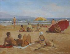 * Hodgkinson, figures sunbathing and playing on a beach , oil on board, 51 x 66cms, framed