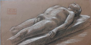 John Hall, reclining male nude, pastel, 25 x 50cms, unframed