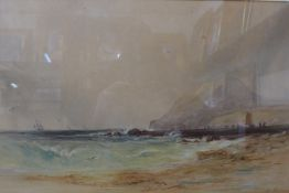 English School (19th Century), coastal landscape, watercolour, indistinctly signed, 29 x 43cms,