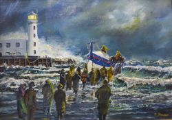 Robert Sheader, Scarborough Lifeboat, oil on board, 28 x 39cms, framed