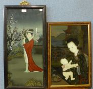 Two Japanese reverse oil paintings on glass and a pair of relief plaques, depicting Emperors