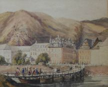 Continental School, Alpine lakeside town, watercolour, indistinctly signed and dated 1841, 25 x