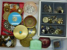 A collection of costume jewellery, clip-on earrings, compacts and a jewellery box with vintage