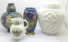 A Carlton Ware vase, cracked, a Doulton Lambeth vase, small chip to the rim, a Beswick ginger jar